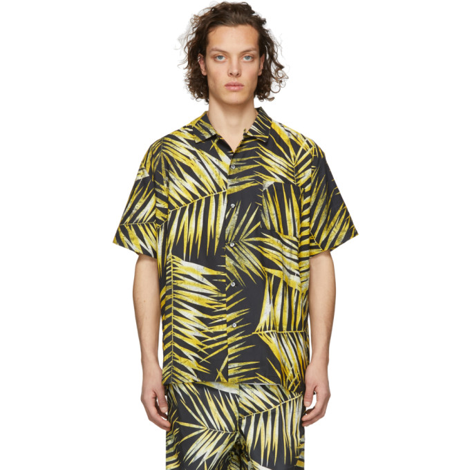 Image of Double Rainbouu Black & Yellow Tiger Palm Crop Shirt