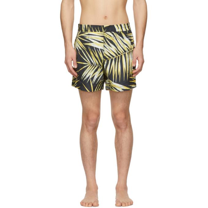 Double Rainbouu Maillot de bain noir et jaune Tiger Palm