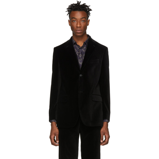 Image of Cobra S.C. SSENSE Exclusive Black Velvet Notch Lapel Blazer