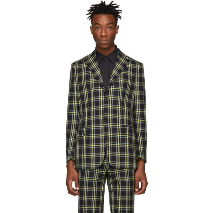Image of Cobra S.C. Yellow Twill Plaid Notch Lapel Blazer