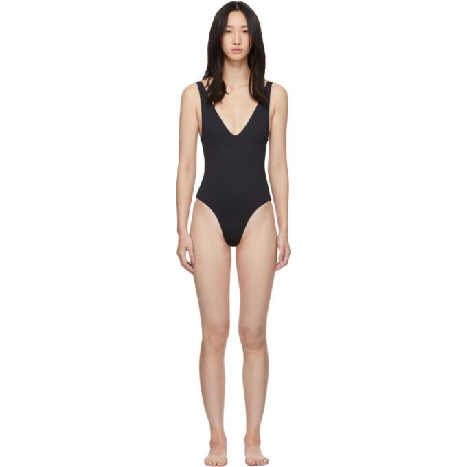 HER LINE Her Line Ssense Exclusive Black Ester One-Piece Swimsuit