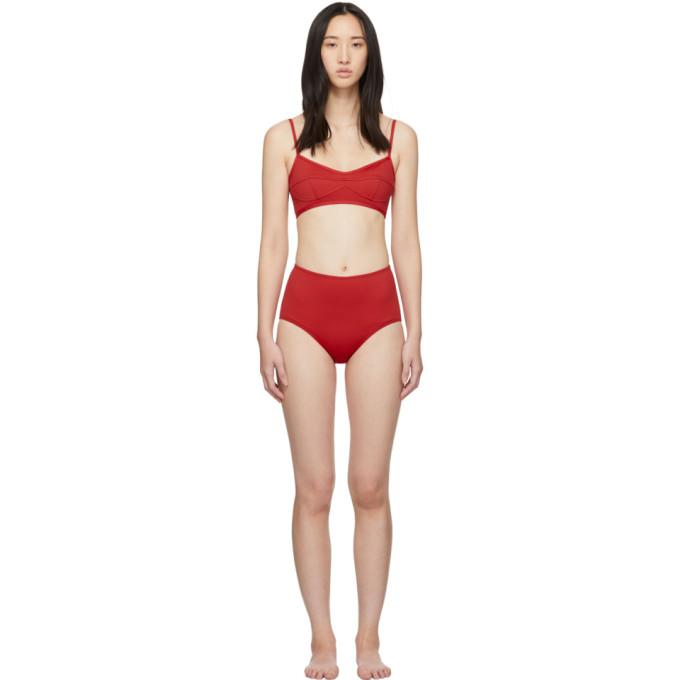 HER LINE Her Line Red Suzy Classic High-Rise Bikini