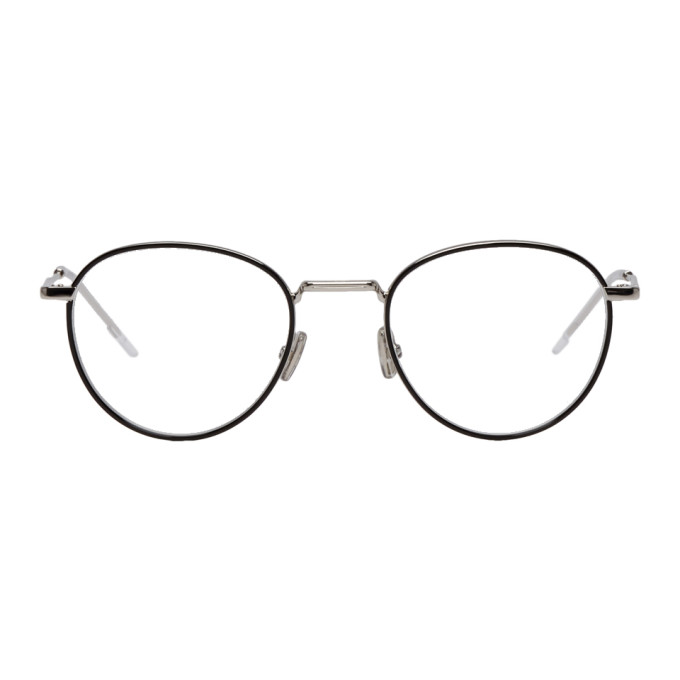 Image of Dior Homme Black & Silver Round 213 Glasses