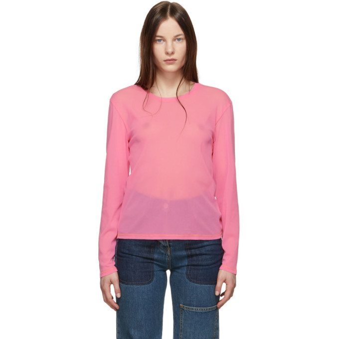 Image of Anton Belinskiy Pink Mesh Long Sleeve T-Shirt