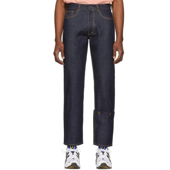 Image of Anton Belinskiy Blue Detachable Cuff Jeans