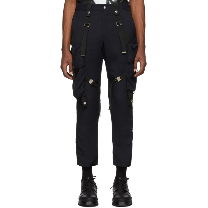 Image of ALMOSTBLACK Navy Strapped Cargo Pants