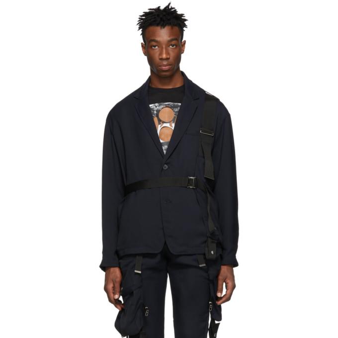 Image of ALMOSTBLACK Navy Belted Blazer Jacket