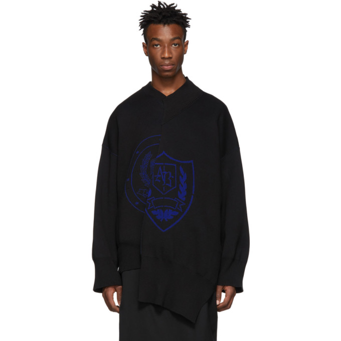Image of ALMOSTBLACK Black Deconstructed Sweater