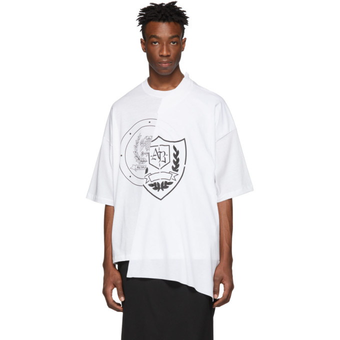 Image of ALMOSTBLACK White Deconstructed T-Shirt