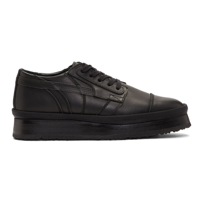 Image of ALMOSTBLACK Black Leather Sneakers