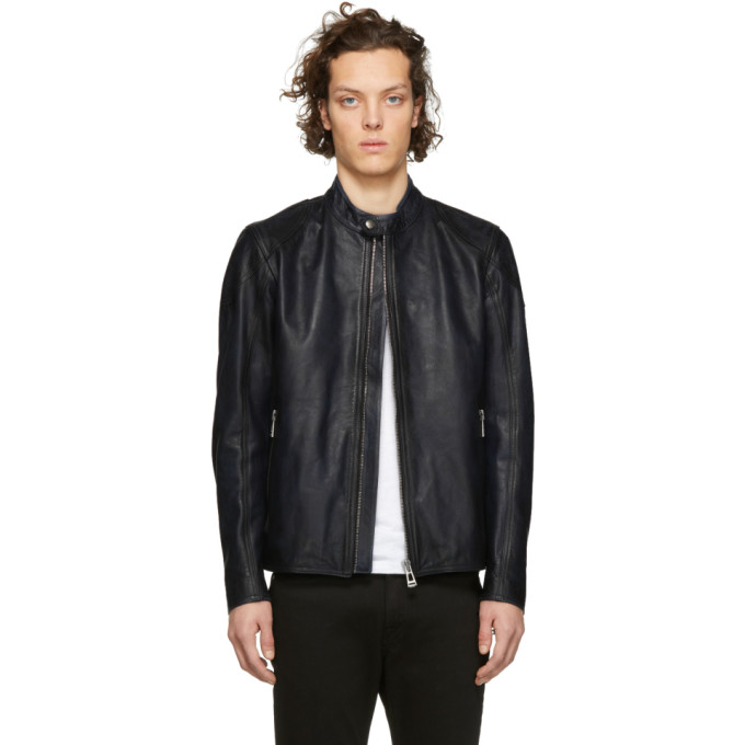 Image of Belstaff Blue Leather Bandit Jacket