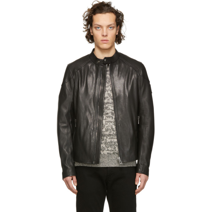 Belstaff Black Leather B Racer Jacket