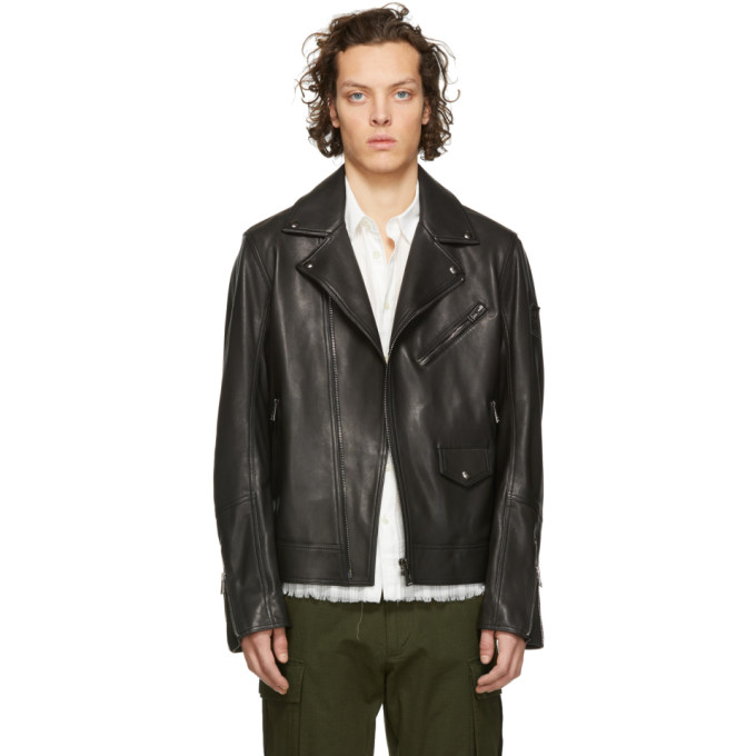 Image of Belstaff Black Leather Fenway Jacket