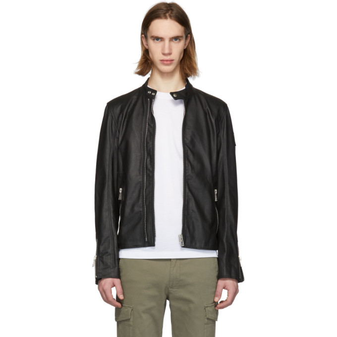 Image of Belstaff Black Leather Arnos Café Jacket