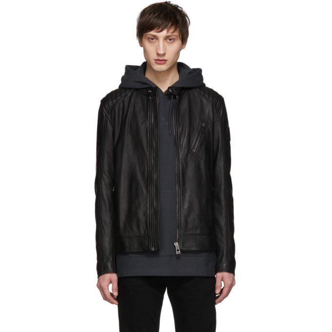 Image of Belstaff Black Leather V Racer Jacket