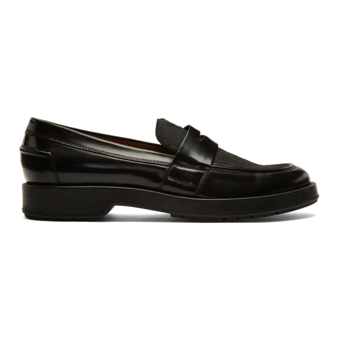 Image of Boss Black Calf-Hair Loafers