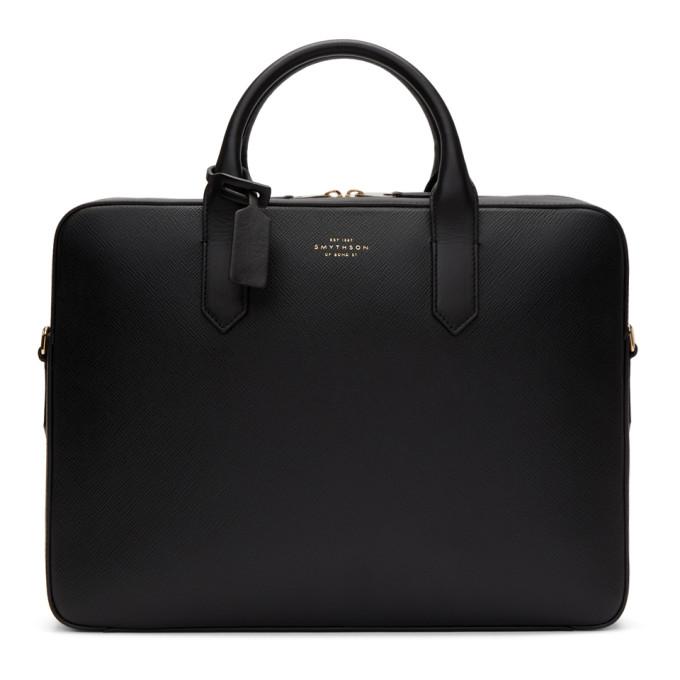 Smythson Black Slim Panama Briefcase