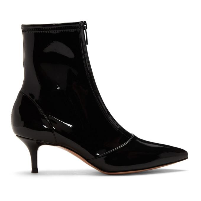 Gianvito Rossi Black Vinyl Zipper Boots
