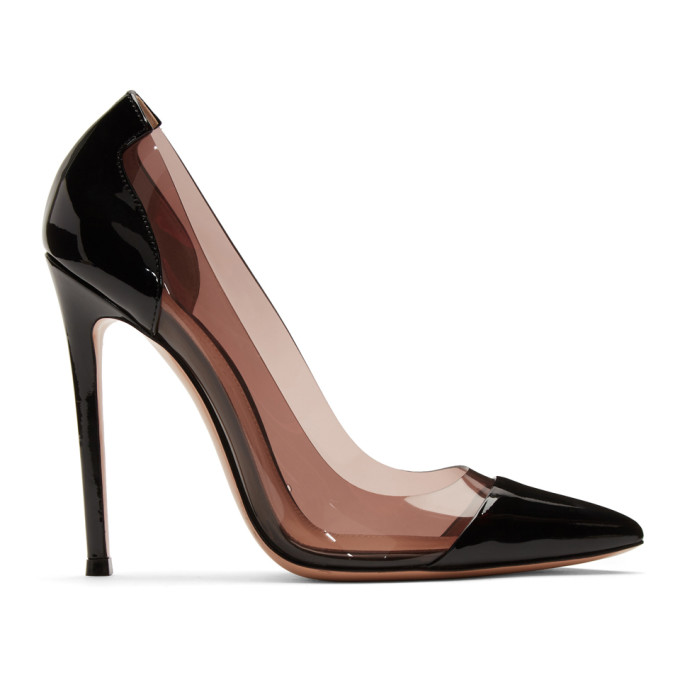 Gianvito Rossi Black and Pink Patent Plexi Heels