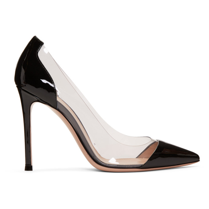 Gianvito Rossi Black Patent Plexi Heels