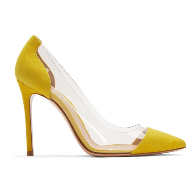 Gianvito Rossi Yellow Suede Plexi Heels
