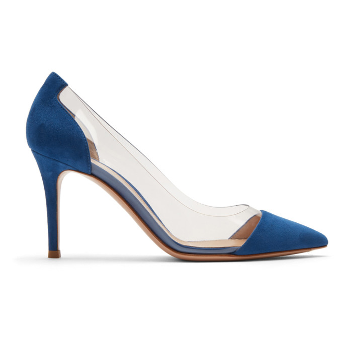 Gianvito Rossi Blue Suede Plexi Heels