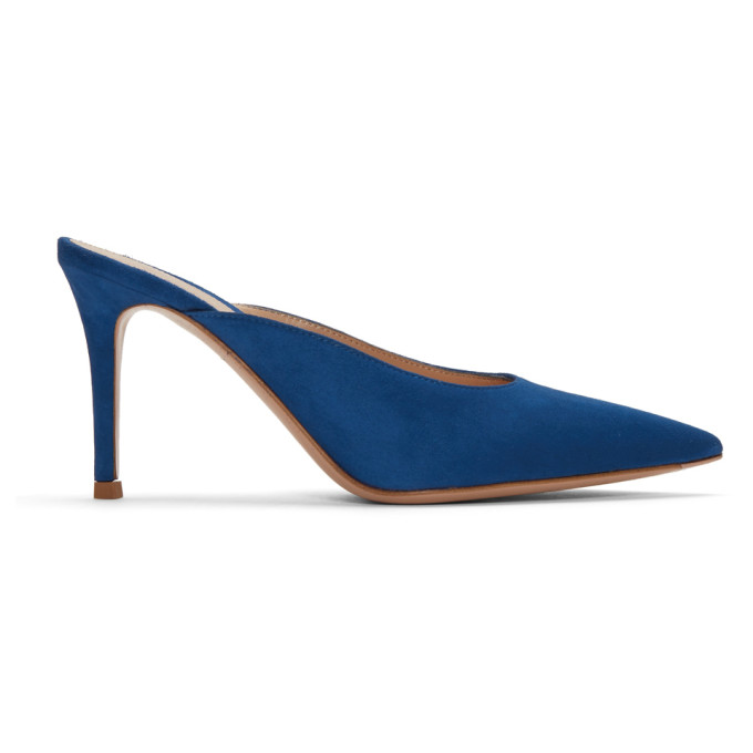 Gianvito Rossi Blue Suede Paige Kitten Mules