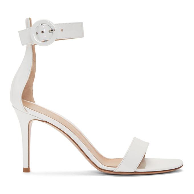 Gianvito Rossi White Patent Portofino Sandals