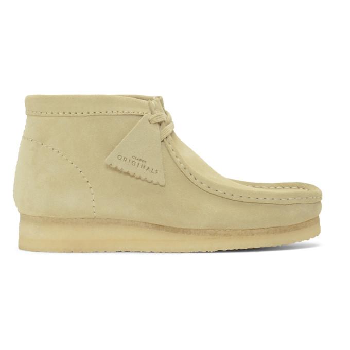 Image of Clarks Originals Beige Suede Wallabee Boots
