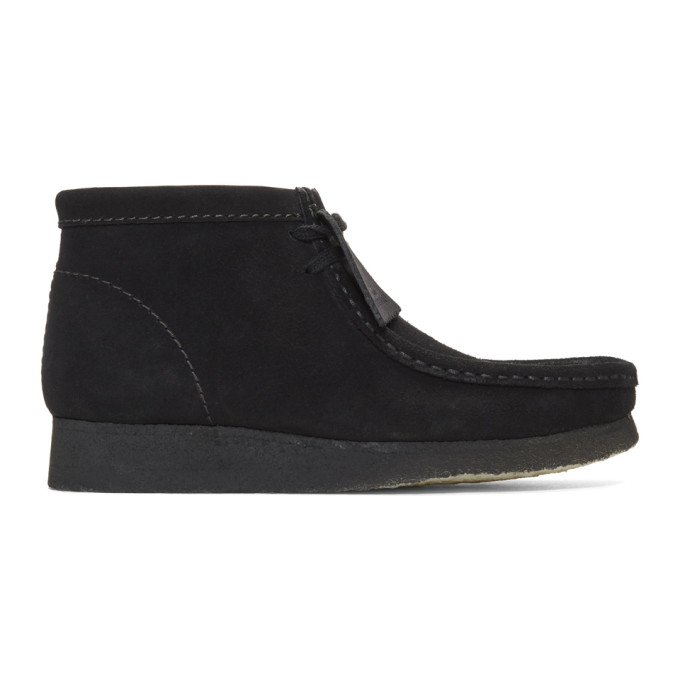 Image of Clarks Originals Black Suede Wallabee Boots