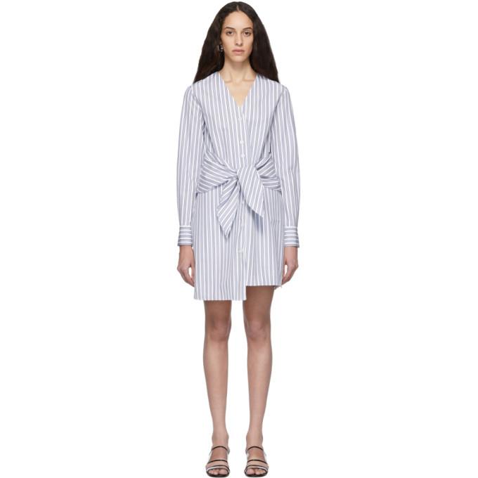 Tibi Liam Waist-tie Striped Cotton Shirtdress In Blue Multi