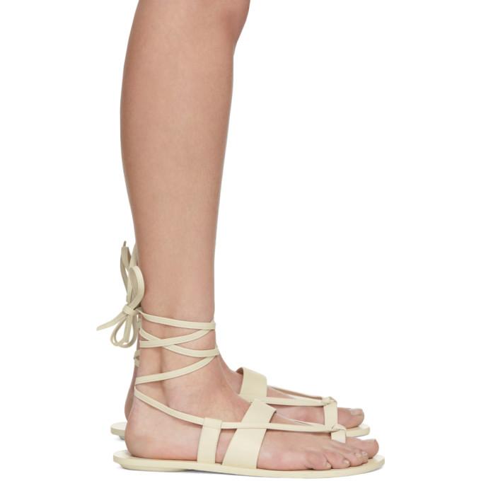 Tibi White Reid Sandals in Ivory