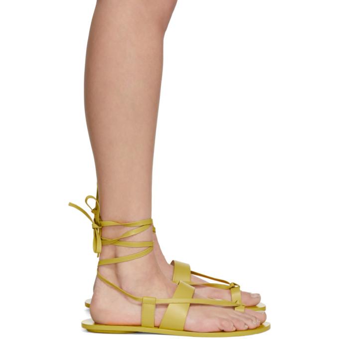 Tibi Yellow Reid Sandals in Lemon