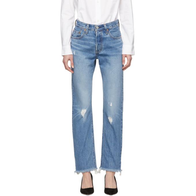 Levis Blue 501 Original Fit Jeans thumbnail