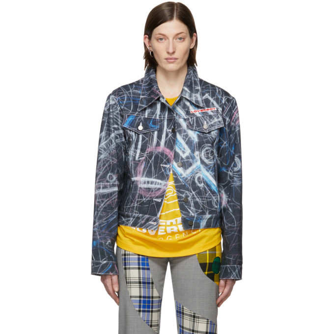 Charles Jeffrey Loverboy Blouson en denim noir Chalk Print