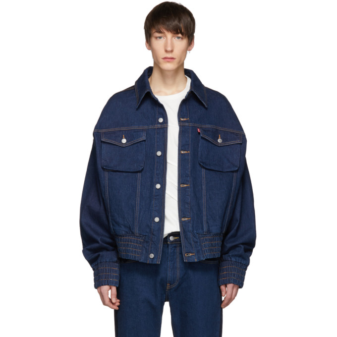 Image of Feng Chen Wang Indigo Levi's Edition Contrast Denim Jacket
