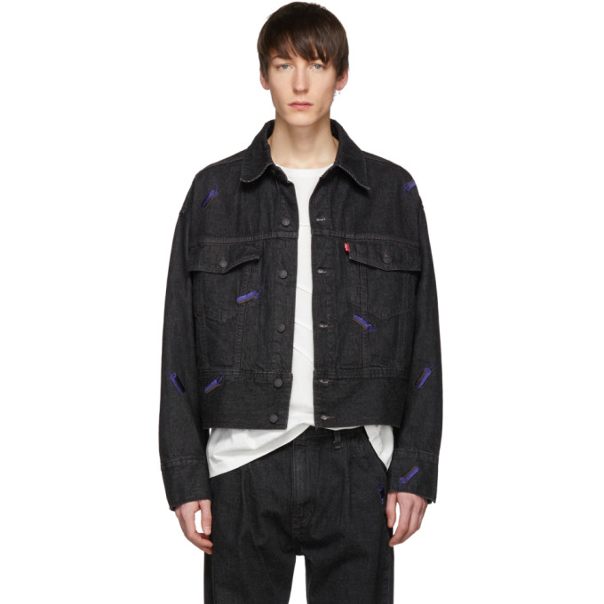 Image of Feng Chen Wang Black Levi's Edition Embroidered Denim Jacket
