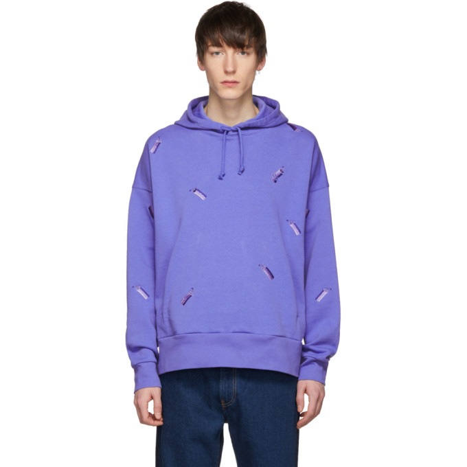 Image of Feng Chen Wang Blue Levi's Edition Embroidered Hoodie