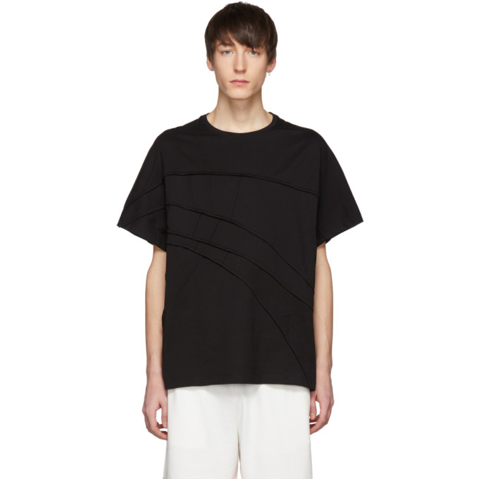 Image of Feng Chen Wang Black Panelled T-Shirt