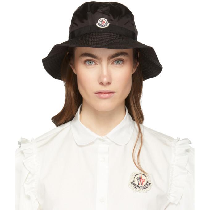 MONCLER | Moncler Black Logo Bucket Hat | Goxip