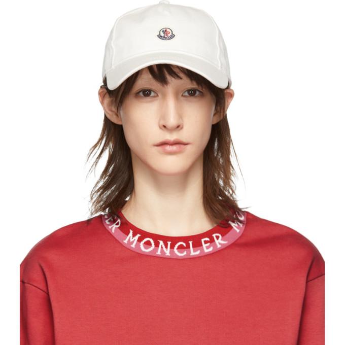 BUY Moncler White Logo Baseball Cap  12ae63c24679