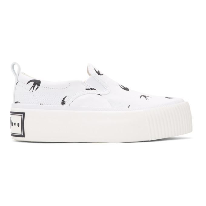 McQ Alexander McQueen White Mini Swallow Platform Slip-On Sneakers