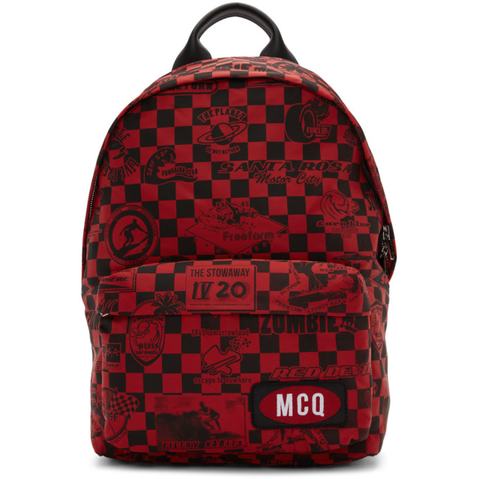 McQ Alexander McQueen Red Racer Check Classic Backpack