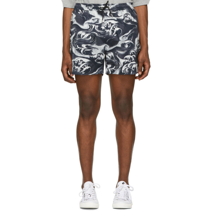 Mcq By Alexander Mcqueen Shorts MCQ ALEXANDER MCQUEEN NAVY AND WHITE HOLIDAY SHORTS