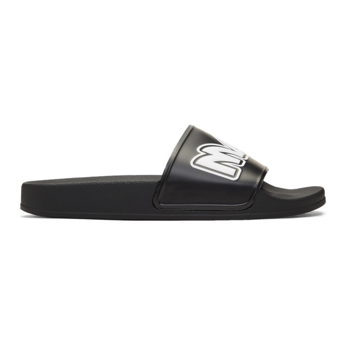 McQ Alexander McQueen Black & White Metal Logo Slides