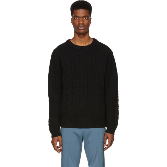 Image of Tiger of Sweden Black Cable Knit Sweater