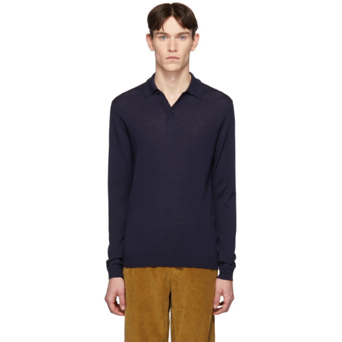 Norse Projects Tops NORSE PROJECTS NAVY MERINO JOHAN POLO