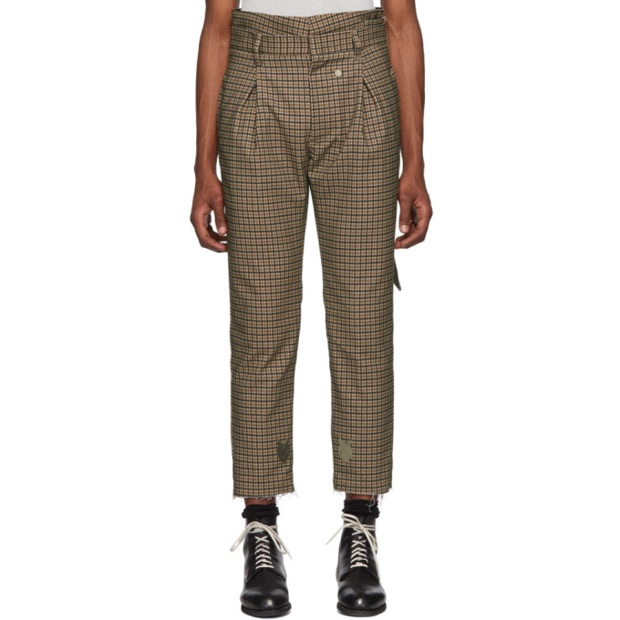 BED J.W. FORD Bed J.W. Ford Brown And Black Plaid High-Waisted Trousers in Brnxgry