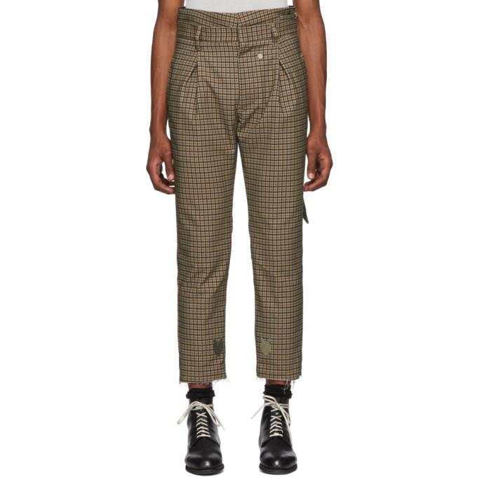 BED J.W. FORD Pantalon a taille haute et carreaux brun et noir