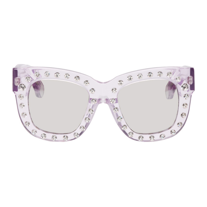 Acne Studios Pink Library Metal Strass Sunglasses